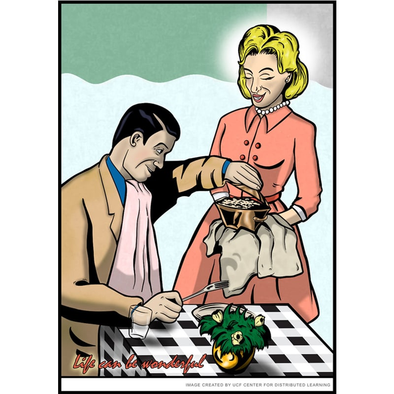 Illustration of a couple having dinner