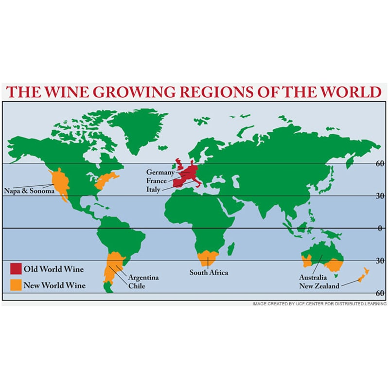 Map of the Wine Growing Regions of the World
