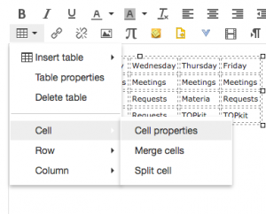 Selecting the Cell Properties option from the Insert Table menu