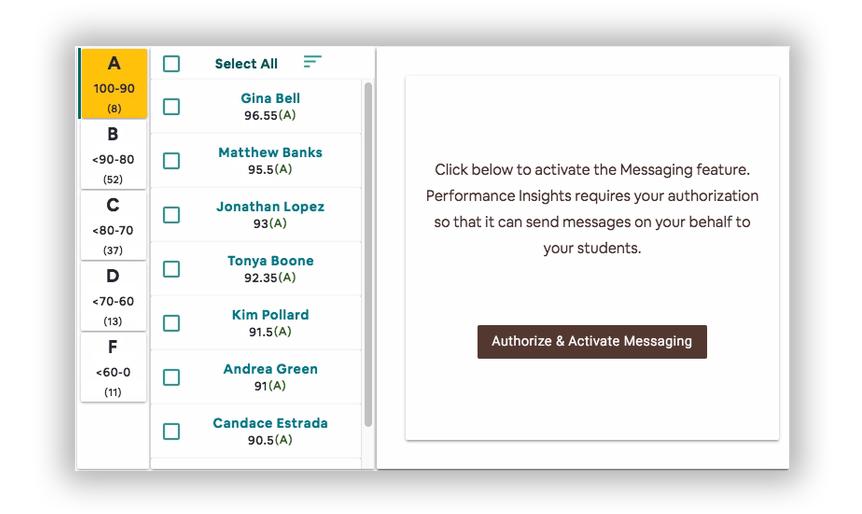 screenshot of performance insights UI before enabling