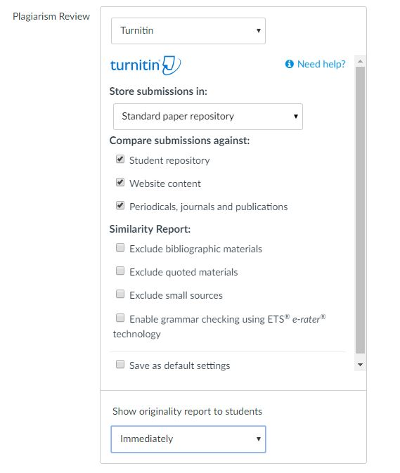 Turnitin Options