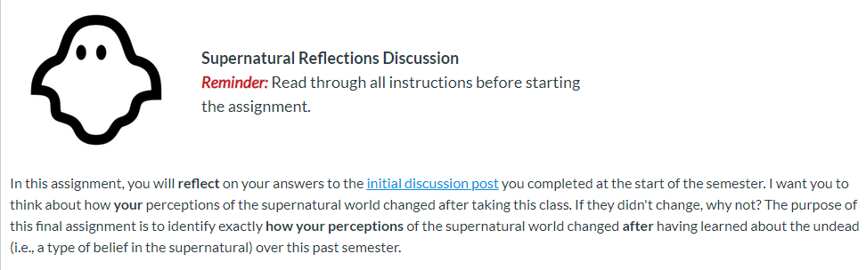 post reflection discussion post - screenshot