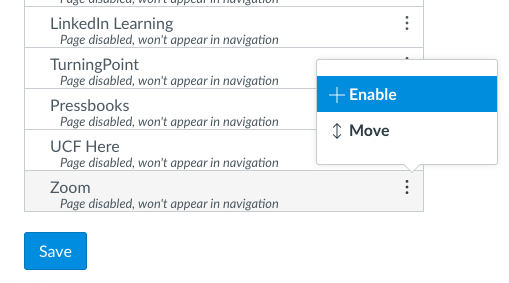 Enable option for Zoom