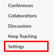 Settings link in course navigation menu
