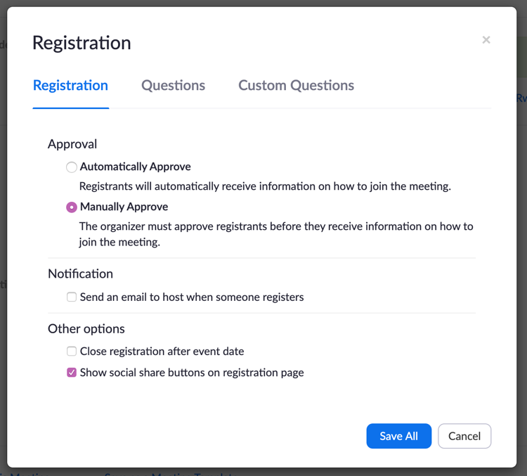 Manually Approve Registration Requests