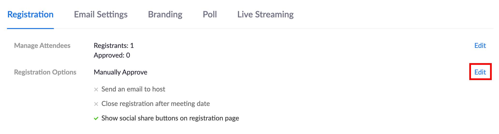 Edit Registration Settings