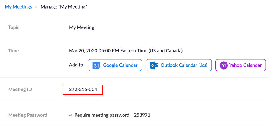 Meeting ID in Zoom