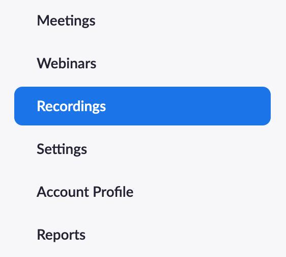 Recordings link in Zoom menu