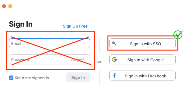 Use Sign in with SSO option to log into Zoom