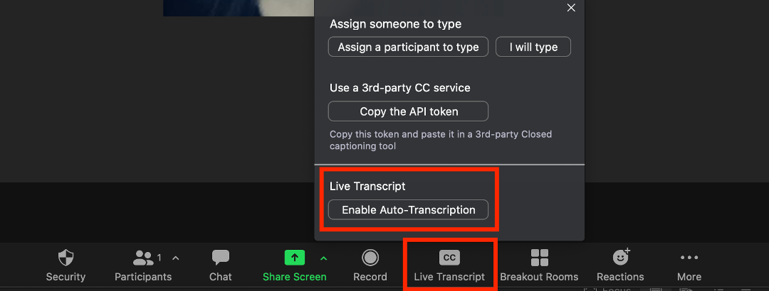 Enable live transcript during meeting